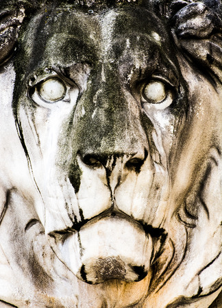 head stones: Lion sculpture at the Feldherrnhalle (Field Marshalls Hall), built 1906 by  Wilhelm von Rümann. Stock Photo