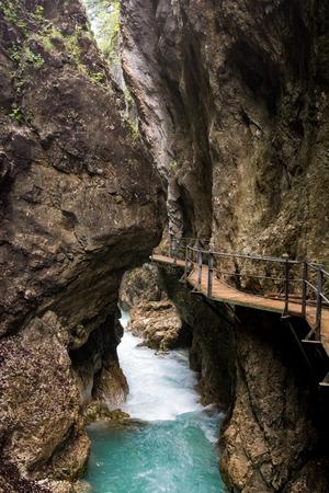 downfall: Walkway through the Leutasch Gorge (Bavaria, Germany)