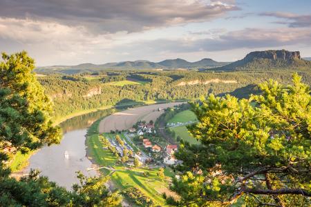 saxony: Landscape with a Mesa in Saxony (Germany) Stock Photo