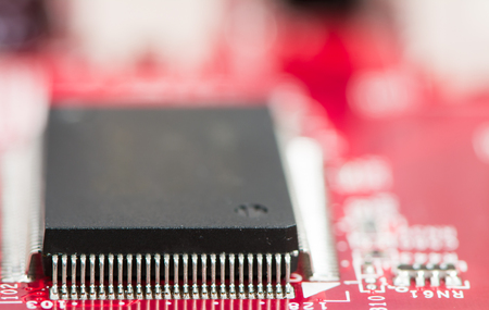 mainboard: Processor chip on computer mainboard with shallow depth of field