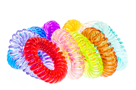 scrunchie: Closeup of various isolated spiral hair ties