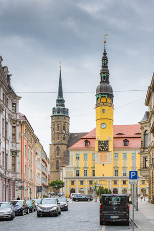 BAUTZEN, GERMANY - AUGUST 23: The town hall of Bautzen, Germany on August 23. Bautzen is a hill-top town in eastern Saxony. Foto taken from Hauptmarkt with view to the town hall. Editorial