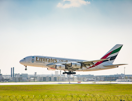 MUNICH, GERMANY - APRIL 9: Airbus A380 from Emirates ariline landing on the airport of Munich, Germany on April 9, 2017. The ariport has over 40 million passengers a year. Foto taken from Hallbergmoserstr. Editorial