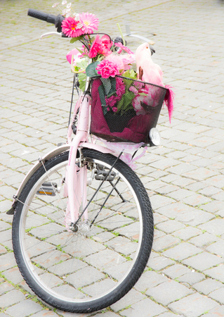 KEMPTEN, GERMANY - JUNE 9: Pink bycicle with flower and parrot deco in the bike basket seen in Kepmten, Germany on June 9, 2017.