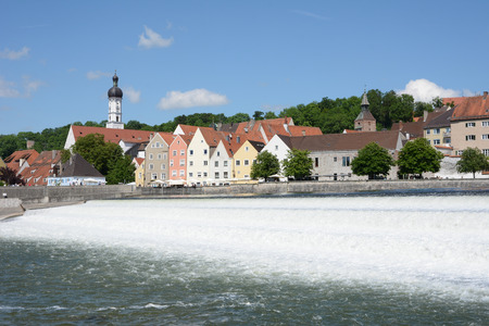 flowing water: LANDSBERG AM LECH, GERMANY - JUNE 10: The river Lech at the historic city of Landsberg am Lech, Germany on June 10, 2017. Landsberg is situated on the so called Romantic Road. Editorial
