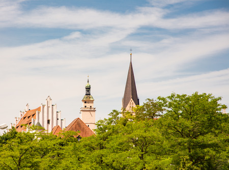 The town hall and the church - Historic buildings in Ingolstadt (Bavaria, Germany) Stock Photo