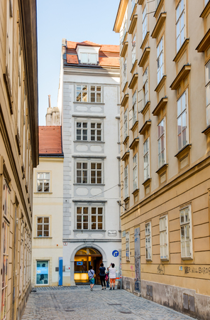 VIENNA, AUSTRIA - AUGUST 30:  Tourists at the Mozarthaus in Vienna, Austria on August 30, 2017. It was Mozarts residence from 1784 to 1787. Editorial