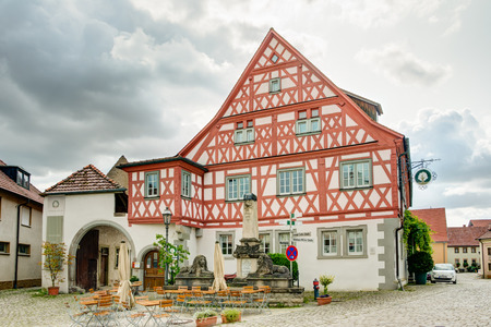 WIPFELD, GERMANY - AUGUST 21: Historic half timbered house in Wipfeld, Germany on August 21, 2017. Editorial