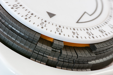 Closeup of the scale of an electric time switch