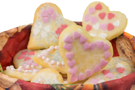 Closeup of isolated sweet Christmas Cookies in heart shape
