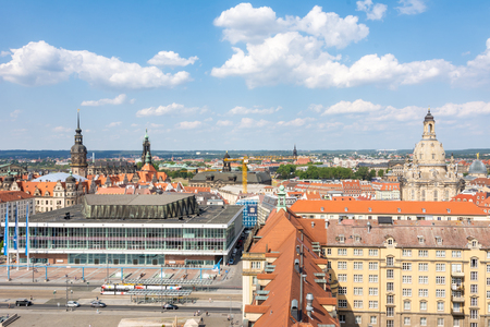 DRESDEN, GERMANY - AUGUST 22: Aerial view over the Altmarkt square in Dresden, Germany on August 21, 2018. Foto taken from Kreuzkirche tower with view to the north. Editorial