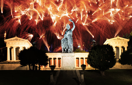 Fireworks at the Bavaria Statue and Ruhmeshalle (Hall of Fame) in Munich (Germany), Theresienwiese. Statue was built 1850.