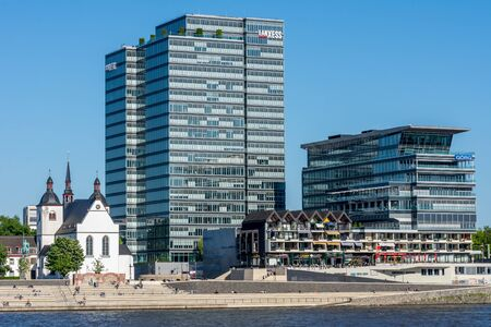 COLOGNE, GERMANY - MAY 13: Modern office building at the river Rhine in Cologne, Germany on May 13, 2019. Redakční