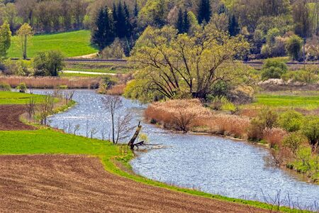 Winding Altmuehl river in Bavaria (Germany)