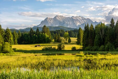 The idyllic lake Tennsee in the Karwendel Mountains of the Bavarian alps. Stock fotó