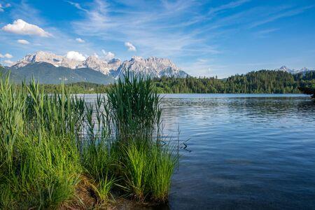 Lake Barmsee at the Karwendel mountains in Bavaria
