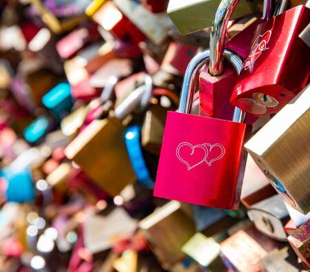 Love locks as symbol for everlasting love