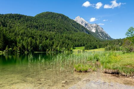 The idyllic lake Lautersee in the Karwendel Mountains of the Bavarian alps.