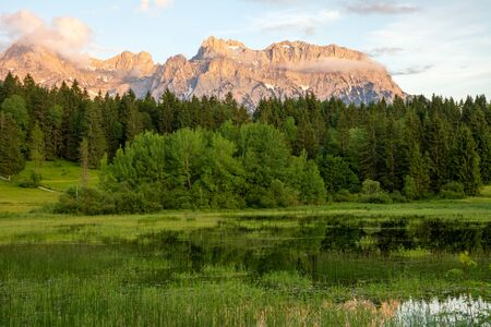 The idyllic lake Tennsee in the Karwendel Mountains of the Bavarian alps.