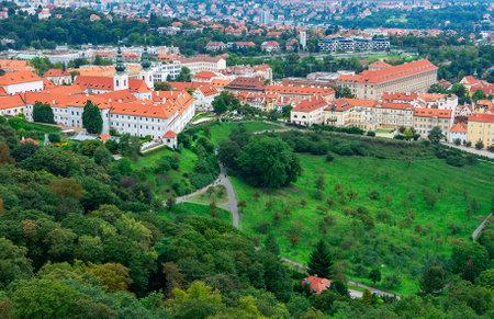 PRAGUE, CZECH REPUBLIC - SEPTEMBER 5: Aerial view over the  Strahov Monastery and city of Prague, Czech Republic on September 5. Editorial