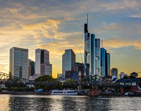 FRANKFURT, GERMANY - SEPTEMBER 15: The Main river and the skyline of Frankfurt, Germany on September 15, 2019. Foto taken from Schaumainkai.