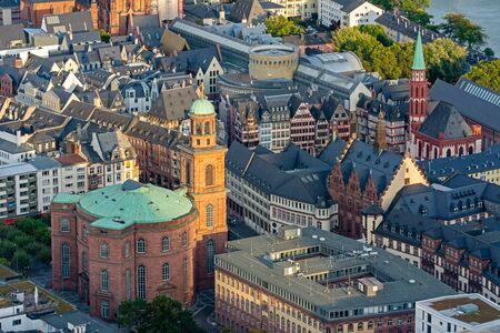 Aerial view of Paulskirche church in Frankfurt (Germany) 스톡 콘텐츠