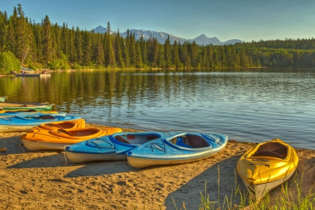 Kayaks at Pyramid Lake in Jasper National Park, Alberta, Canada  photo