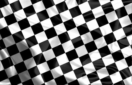 checker board: Bandera que agita de la carrera ganadora con Blanco y Negro Patr�n de tablero de ajedrez