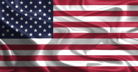 Waving Fabric Flag of United States of America, USA  photo