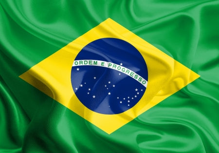Waving Fabric Flag of Brazil photo