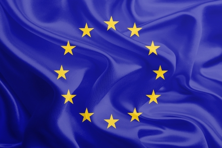Waving Fabric Flag of European Union, EU  Stock Photo