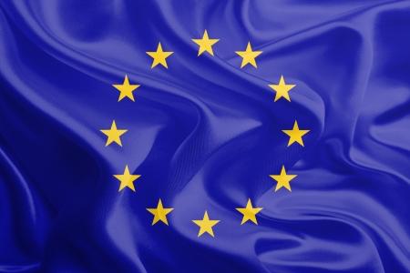 Waving Fabric Flag of European Union, EU  Stock Photo