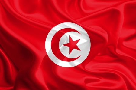 Waving Fabric Flag of Tunisia photo