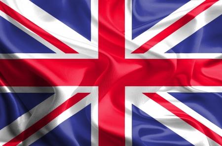 Waving Fabric Flag of United Kingdom of Great Britain, UK  photo