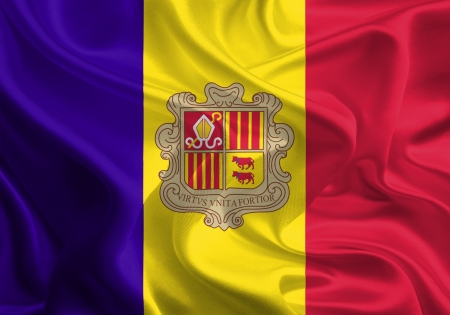 Waving Fabric Flag of Andorra photo