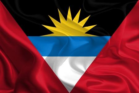 antigua flag: Waving Fabric Flag of Antigua and Barbuda