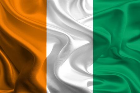 cote d ivoire: Waving Fabric Flag of Cote d Ivoire