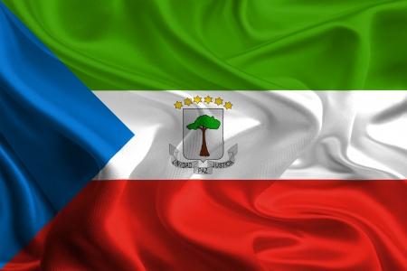 Waving Fabric Flag of Equatorial Guinea