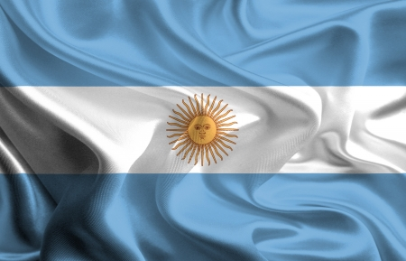Waving Fabric Flag of Argentina Stock Photo