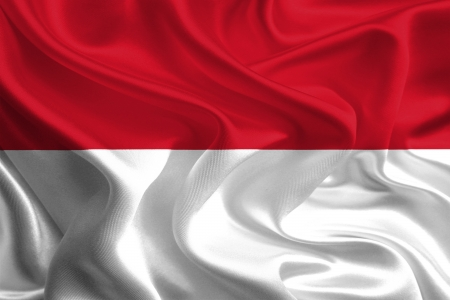 Waving Fabric Flag of Indonesia photo