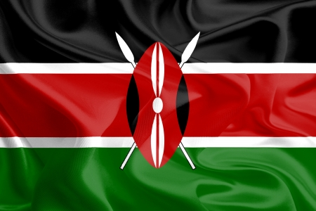 kenya: Waving Fabric Flag of Kenya