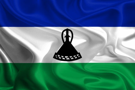 lesotho: Waving Fabric Flag of Lesotho