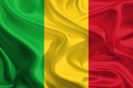 mali: Waving Fabric Flag of Mali