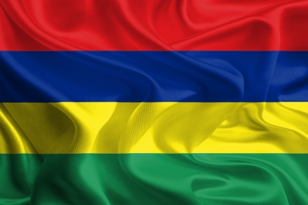 Waving Fabric Flag of Mauritius Stock Photo