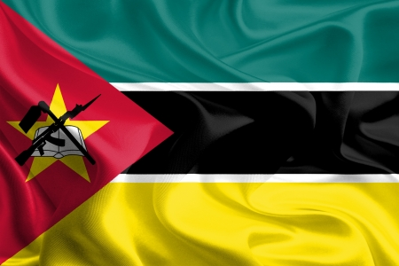 Waving Fabric Flag of Mozambique Stock Photo