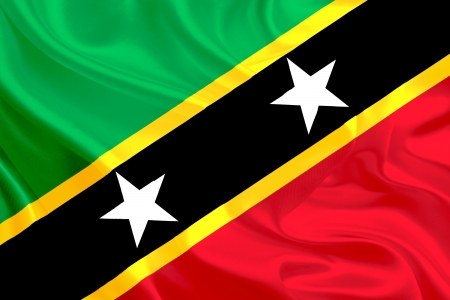 Waving Fabric Flag of Saint Kitts and Nevis