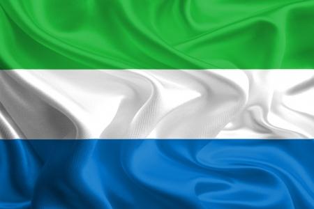 sierra: Waving Fabric Flag of Sierra Leone