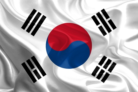 Waving Fabric Flag of south korea photo
