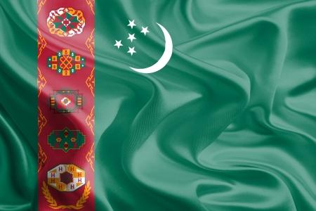 Waving Fabric Flag of turkmenistan