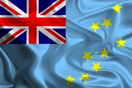 tuvalu: Waving Fabric Flag of Tuvalu Stock Photo